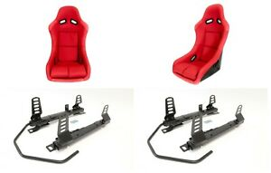 F1spec Type 5 Racing Seat Red Frp Pair Low Down Rail Combo Civic Fg 2006 2011