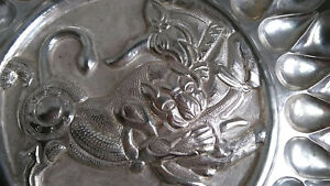 Middle Eastern Persian 875 Silver Wall Tray Lion And Bull 829g