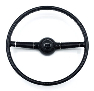 16 Gloss Black 3 Hole Steering Wheel W Horn Button 1940 Ford Deluxe Style