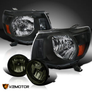 For 2005 2011 Toyota Tacoma Black Headlights Smoke Lens Tinted Fog Bumper Lamps