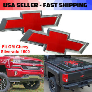 2x For 2016 2019 Gm Chevy Silverado 1500 Red Front Tailgate Bowtie Emblem