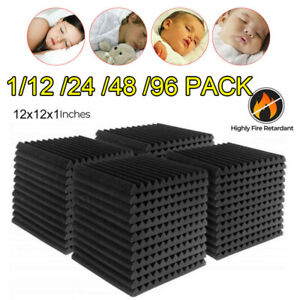 96 Pack 12 x 2 x1 Acoustic Foam Panel Wedge Studio Soundproofing Wall Tiles
