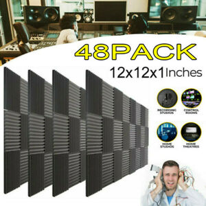 48pack Acoustic Foam Panel Wedge Studio Soundproofing Wall Tiles Sound Proofing