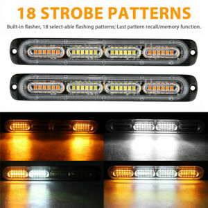 2x White amber 24 Led Car Truck Emergency Warning Hazard Flash Strobe Light Bar