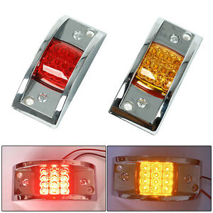 2pcs Truck Trailer 12 Led Red Amber Led Marker Clearance Lights Sealed Chrome