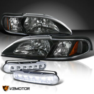 Fit 1994 1998 Ford Mustang 1pc Black Headlights Signal led Bumper Fog Lamps