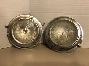 2 Vintage 4 Glass Lens Walkway Deck Dome Lamp Light Marine Boat Project Look