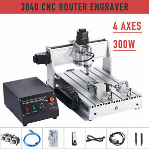 4 axis Cutting Milling Engraving Machine Cnc Router W Rotary Axis For Wood More