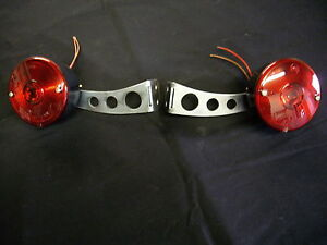 Tail Lights Brackets Set Round Universal Hot Rat Rod Turn Stop Trailer