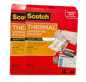 2pk Scotch Thermal Laminating Pouches Variety Pack 65 Pouches Total 130pouches