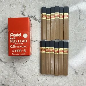 Vintage Nos 12 Tubes Pentel Ppr 5 Red 0 5mm Refill Lead For Automatic Pencils