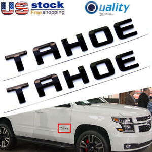 2 Gloss Black Tahoe Emblems Letter Badge For Gm 2007 2018 Chevy Tahoe New