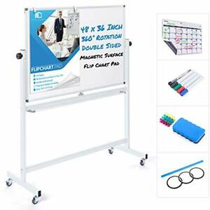 Mobile Whiteboard 48 X 36 Inch Double Sided Magnetic Dry Erase Board Large Rolli
