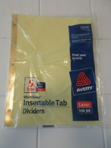 Avery 11110 Insertable Tab Dividers 5 tab Clear