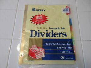 Avery 8 Rip proof Tab Binder Dividers Insertable Multicolor Tabs W double Gold
