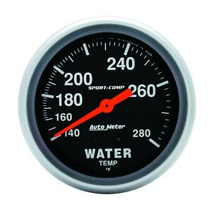 Autometer Gauge Water Temp 2 5 8 140 280 Degrees F Mechanical Sport comp