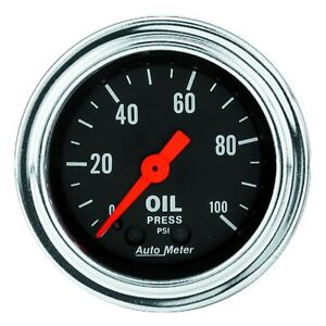 Autometer Gauge Oil Pressure 2 1 16 100psi Mechanical Traditional Chrome