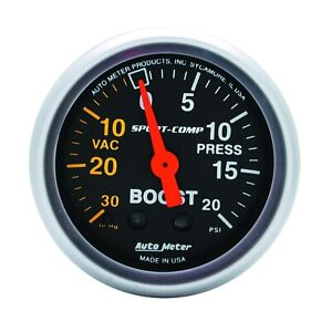 Autometer Gauge Vac boost 2 1 16 30inhg 20psi Mechanical Sport comp