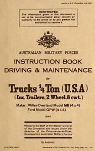 Driving Maintenance For 1 4t Trucks Willys Mb Ford Gpw jeep Book 1944