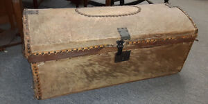 1830 S 40 S Deer Hide Skin Dome Top Storage Box Trunk Stagecoach