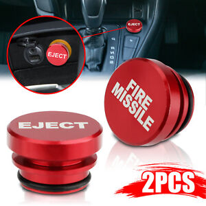 2pcs Universal Fire Missile Eject Button Car Cigarette Lighter Cover Accessories