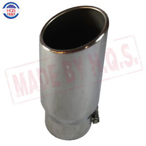 Rolled Edge Angle Cut Exhaust Tip Tail Pipe S s 4 Inlet 5 Outlet 12 Inch Long