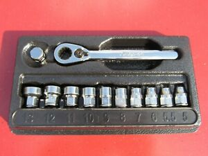 Snap On 112rtms 1 4 Metric 6 Point Low Profile Socket Ratchet Set Rt72 W Tray