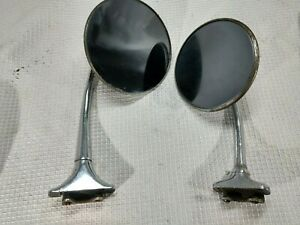 Vintage Pair Round Side Car Automobile Mirror