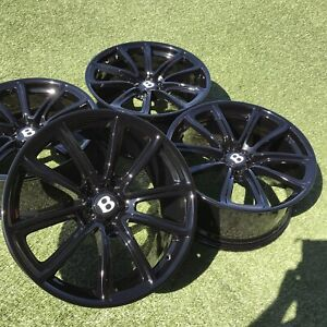 20 Bentley Supersports Rims Black Set 4 Oem Factory Continental Wheels Forged