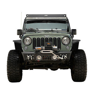 Rock Crawler Front Bumper Stubby With Winch Plate Fit For 07 18 Jeep Jk Wrangler