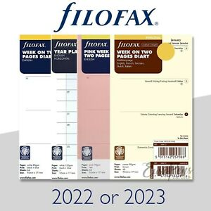 Filofax 2022 Or 2023 Personal Size Diary Insert Refills All Available