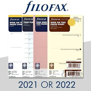 Filofax Personal Size Diary Insert Refills Select Year 2021 Or 2022