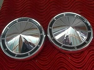 Set Of 2 Ford Galaxie 500 Fairlane Dog Dish Poverty Hub Caps 10 5 60 61 1961