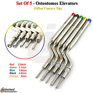 Set Of 5 Offset Osteotomes Concave Tip Bone Spreading Implant Sinus Lift Surgery