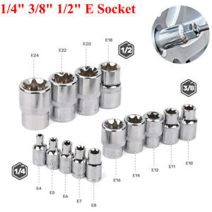 14pcs Female E Torx External Star Socket Set 1 4 3 8 1 2 E4 E24 Torque Socket