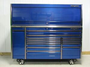 Snap On Sapphire Blue 84 Epiq Tool Box Stainless Steel Power Top Hutch