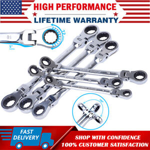 6pcs Double Box End Ratcheting Wrench Flex head Long Spanner Set Metric 8mm 19mm
