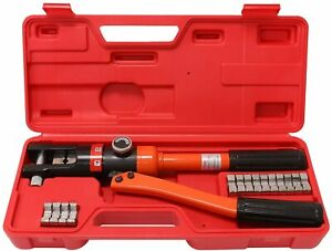 Hydraulic Wire Crimper Battery Lug Terminal Cable Crimping Tool 8 Dies 12 Ton
