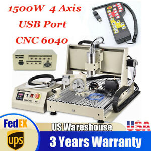4axis Usb Cnc6040 Router Engraver Carving Mill Wood 1 5kw Machine W handwheel Ce