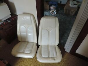Mercury Cougar Mustang Ford Leather White Useable Bucket Seats Pair front set