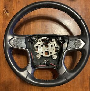 14 18 Gm Truck Black Leather Steering Wheel W radio Cruise Control Buttons Oem