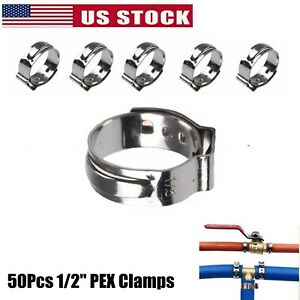 1 2 Pex Stainless Steel Ear Clamp Cinch Rings Crimp Pinch Fitting 50pcs 17 5mm
