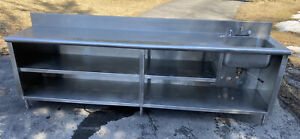 114 X 24 Stainless Steel Work Table Cabinet W Shelves Right Sink Custom
