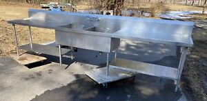 Custom Made Stainless Steel 2 Compartment Sink W Left Right Drainboard 149