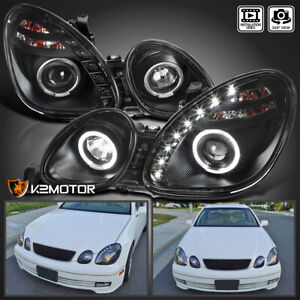 For 1998 2005 Lexus Gs300 Gs400 Led Strip Black Projector Headlights Lamps 98 05