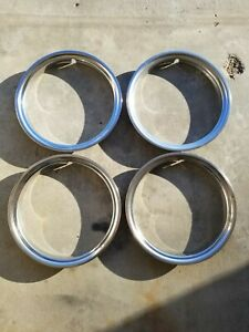 1973 87 Chevy Gmc 1500 Suburban C10 Pickup Van 15 Inch Metal Trim Rings Set Of 4