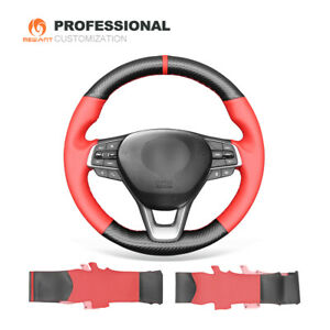 Carbon Fiber Red Pu Leather Car Steering Wheel Cover For Honda Accord 10 Insight