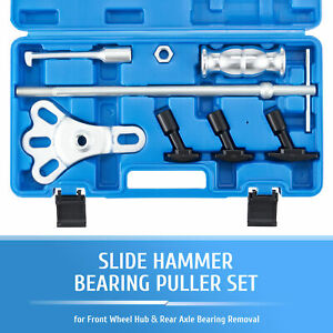 Omt 8pc Rear Axle Seal Bearing Puller Kit Slide Hammer Set W Yoke Hook Adapters