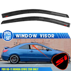 Fits 06 11 Honda Civic Coupe Window Visors Vent Rain Guard Shade W Red Si