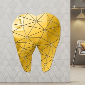 Dental Care Tooth Shaped Acrylic Mirrored Wall Stickers Dentist Clinic 3d Art
